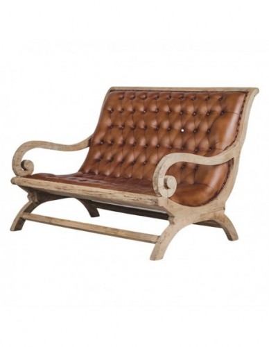 Wooden leather sofa 128x100x95