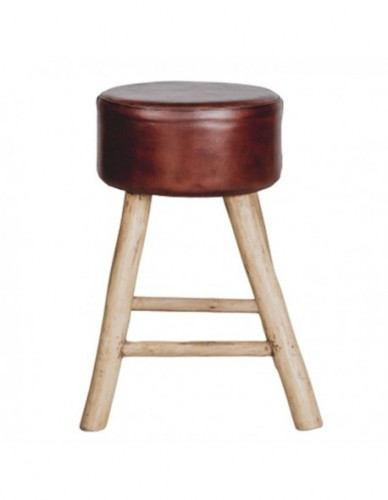 Wooden leather stool 40x40x65