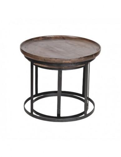 Wdn and iron coffee table s/2 a-60x60x50 b-52x52x45