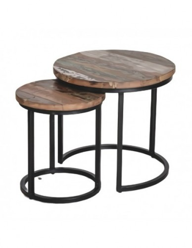 Wdn and iron coffee table s/2 a- 51x51x48 b- 35x35x42