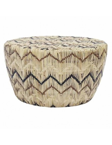 LADLON MVW STOOL RATTAN SKIN ON FRAME WITH 6 MM WIDTH RATTAN PEEL IN MIX V WEBBING (BLACK, DARK BROWN AND NATURAL).