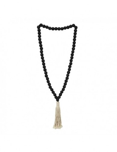 KALUNG BL WALL ART S DIA. 23 MM MIXHARDWOOD BALLS, BLACK OPEN GRAIN COLOR FINISHING. DIA. 3 MM COTTON ROPE FRINGE.